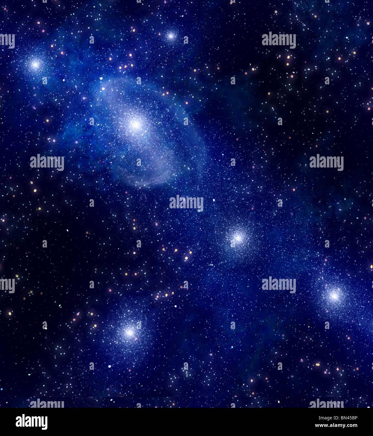 Espacio profundo fondo con estrellas y nebulosa Imagen De Stock