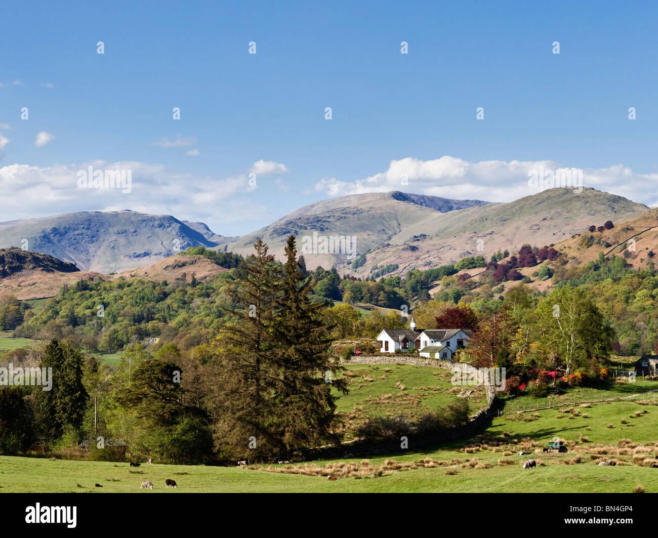 Cortijo rural al noreste de Coniston rodeado por montañas en el verano en el Lake District, RU Imagen De Stock