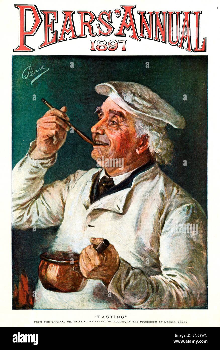 Las peras, degustación, 1897 pintura de Albert Holden para los fabricantes de jabón victoriano con un Imagen De Stock