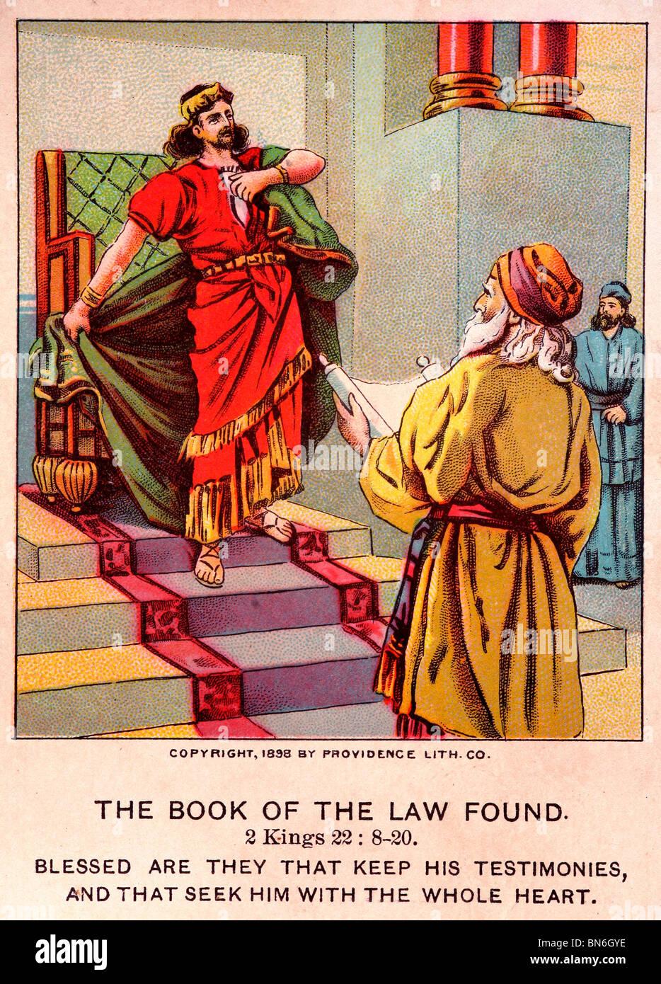 """Ilustración antigua Bible-Card 'El libro de la ley"""" encontrado Foto de stock"""