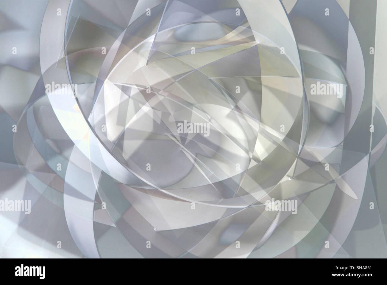 Desarrollo de curvas abstractas en blanco y negro Foto de stock