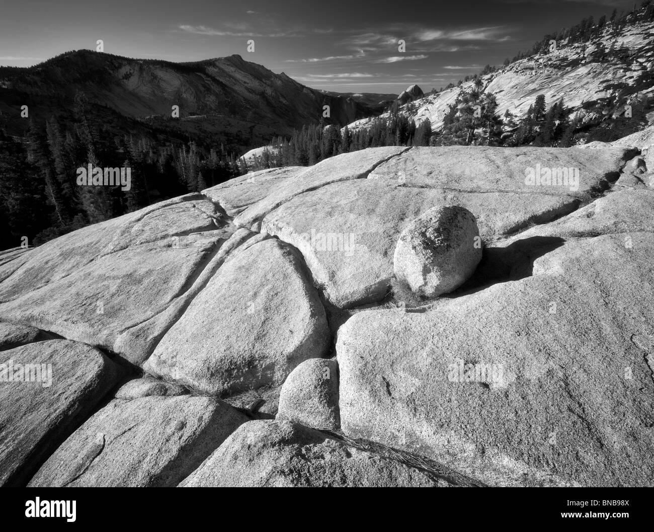 Roca de granito y Half Dome. Parque Nacional Yosemite, California Foto de stock