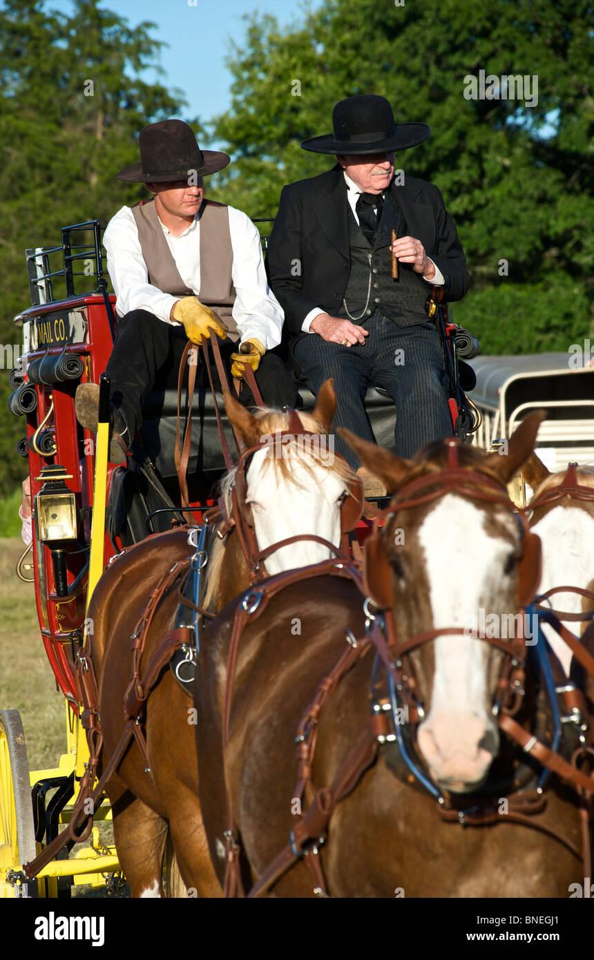 Butterfield histórico stage coach en pequeña ciudad PRCA Rodeo Bridgeport, Texas, EE.UU. Foto de stock
