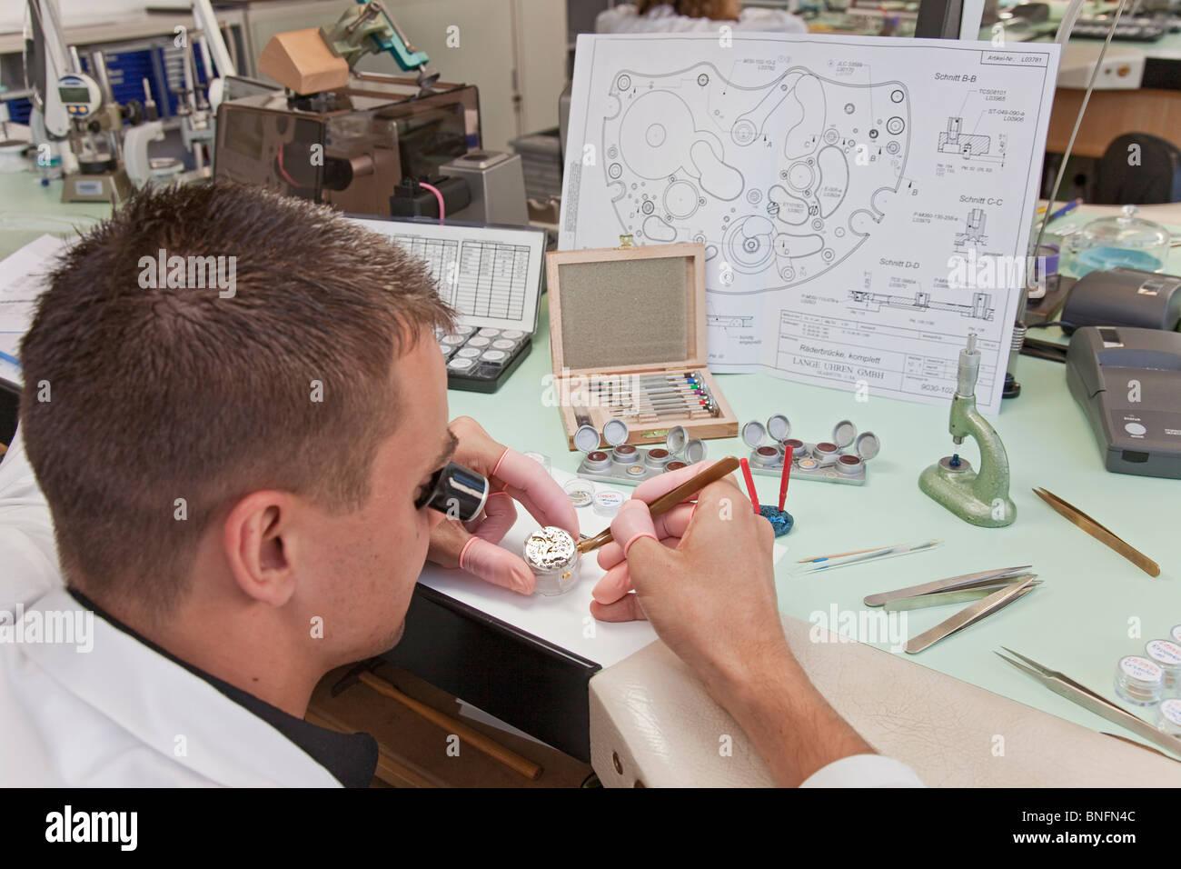 Lange und Soehne GmbH: fabricación de relojes preciosos en Glashuette, Alemania Imagen De Stock