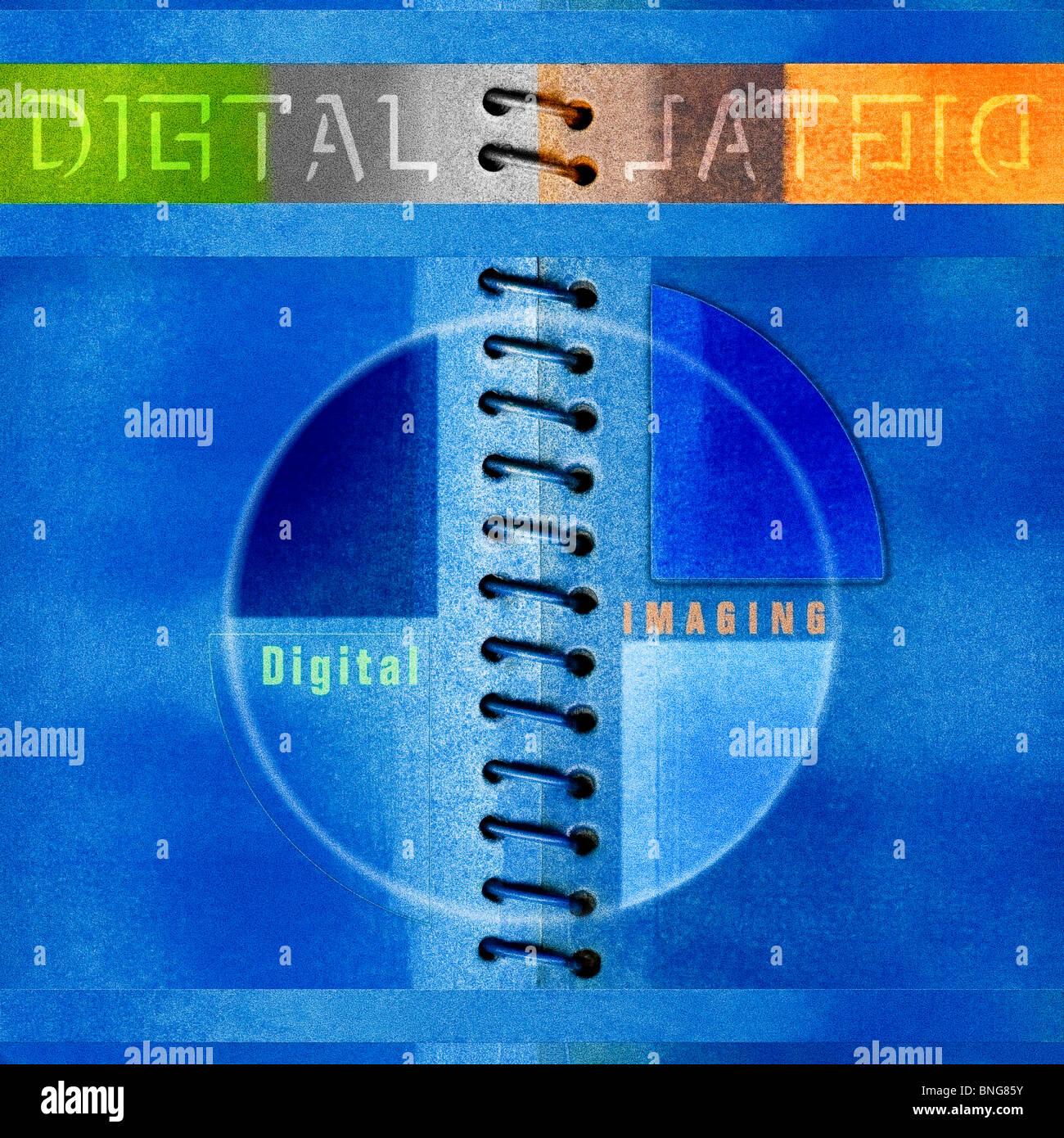 Azul álbum digital en papel Kodak textura imprimir imagen abstracta creativa ilustración, ilustración, Imagen De Stock