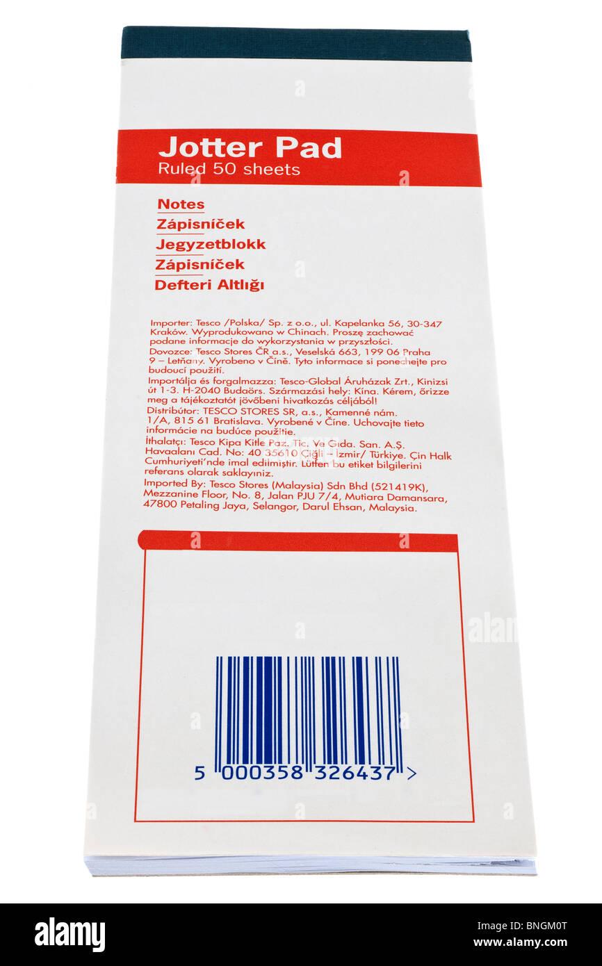 Gobernó 50 hojas largas Jotter pad Imagen De Stock