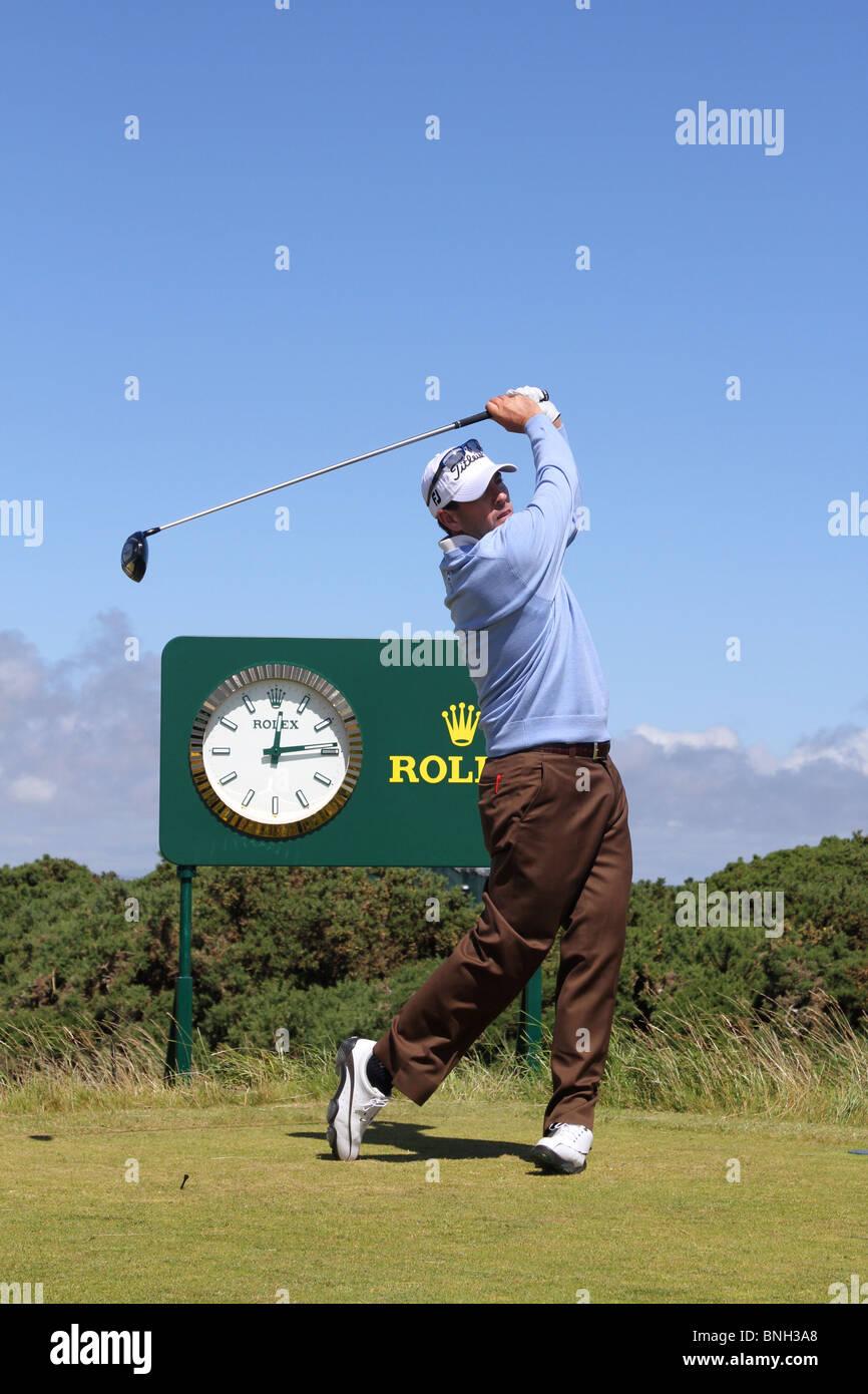 Clifford Ben Curtis es un golfista profesional norteamericano en el Tour de la PGA, en el British Open de Golf en St Andrews, Escocia, Reino Unido, julio de 2010 Foto de stock