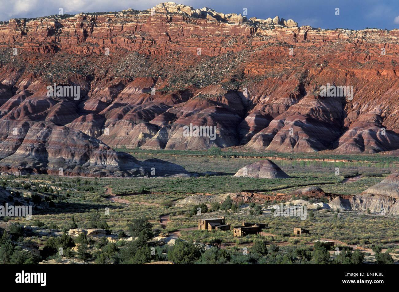 Estados Unidos Utah Kanab Paria Película conjunto Grand Staircase Escalante National Monument Paisaje de casas Imagen De Stock