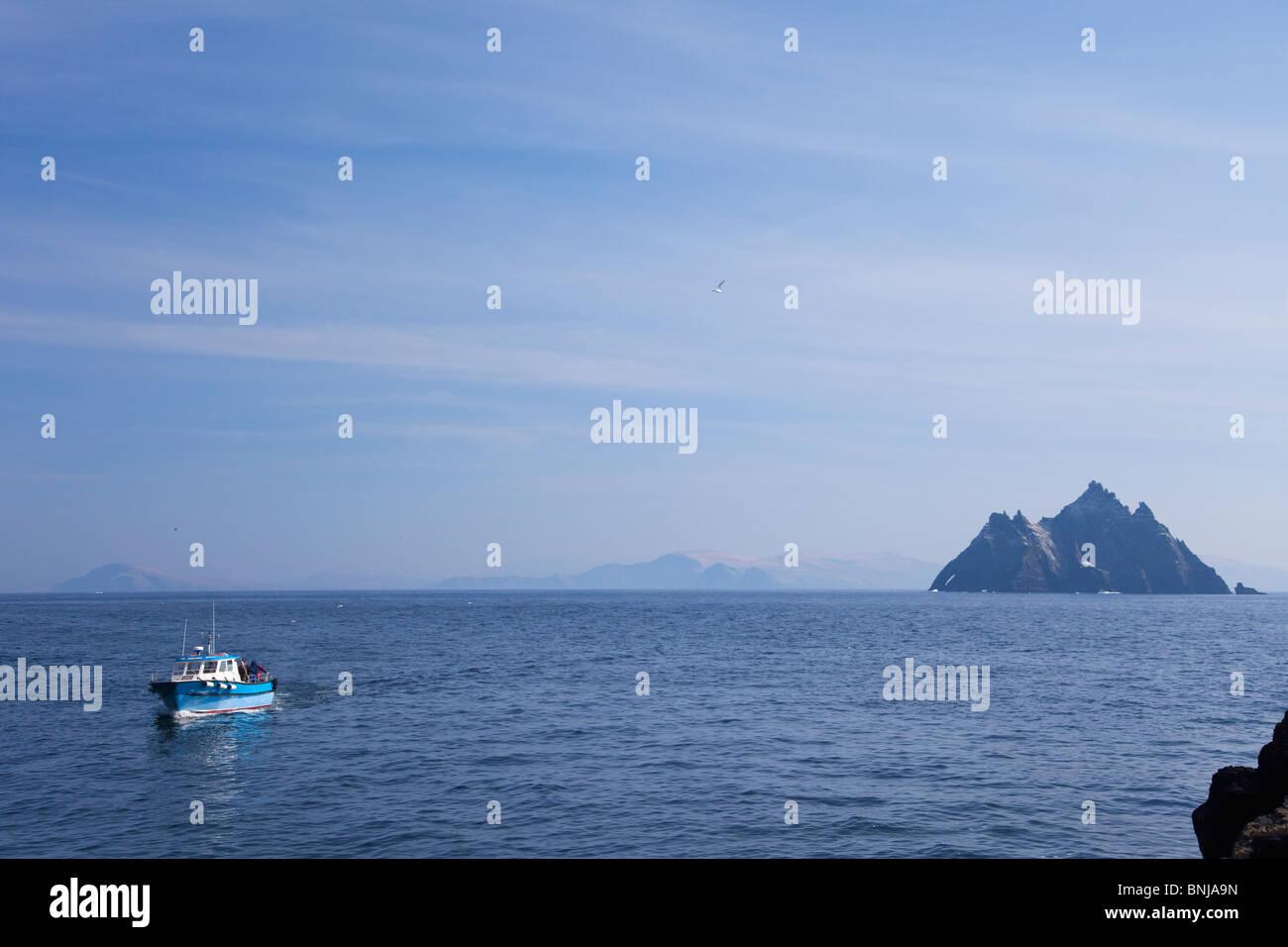 Barco, viaje, Skellig Michael, Condado, Co.,Kerry, en primavera, el sol, República de Irlanda, Irlanda, Europa Imagen De Stock