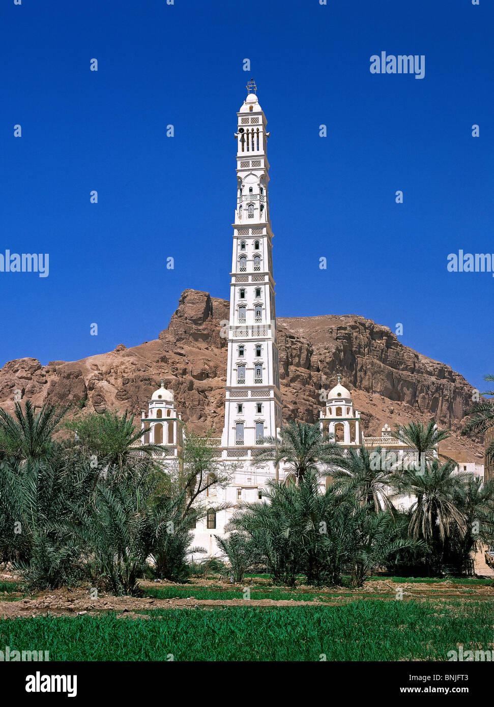 Febrero de 2005 el valle de Hadhramaut Yemen Sayun minarete de la mezquita de la ciudad Imagen De Stock