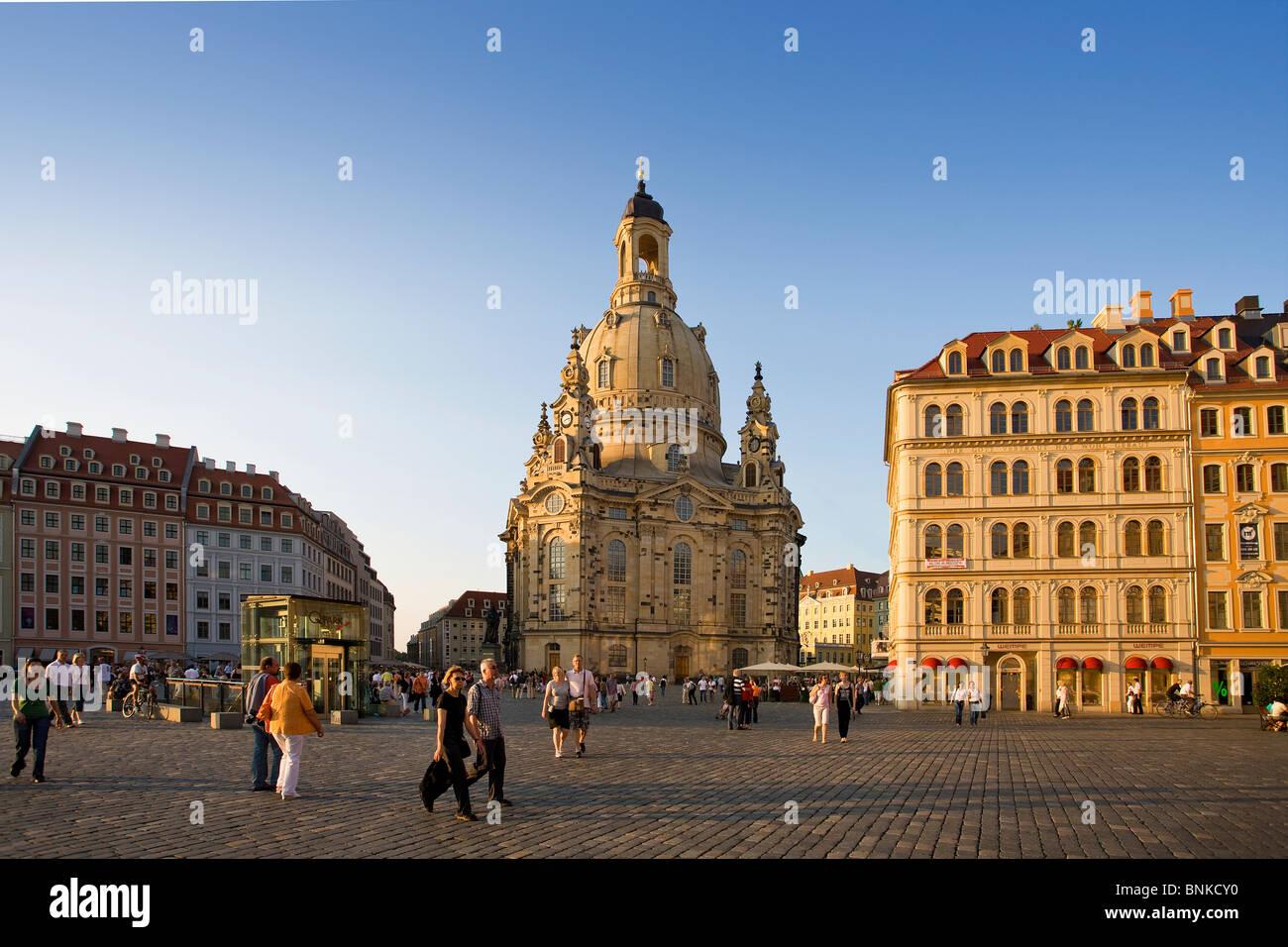 Alemania Dresden Iglesia de Nuestra Señora de la iglesia catedral lugar para viajes espaciales turismo vacaciones Imagen De Stock