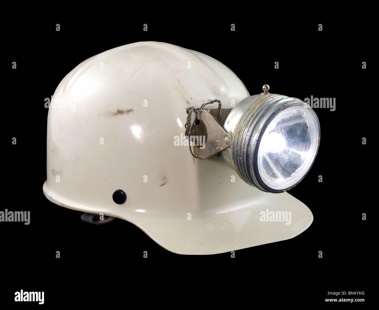Vintage espeleología / Minería sombrero duro desde la década de 1970. Foto de stock