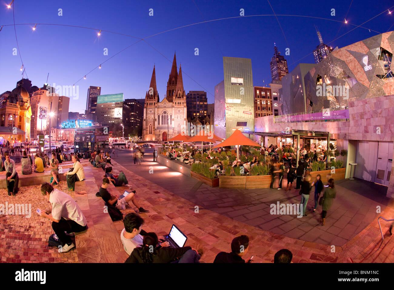 La plaza de la Federación, Melbourne Imagen De Stock