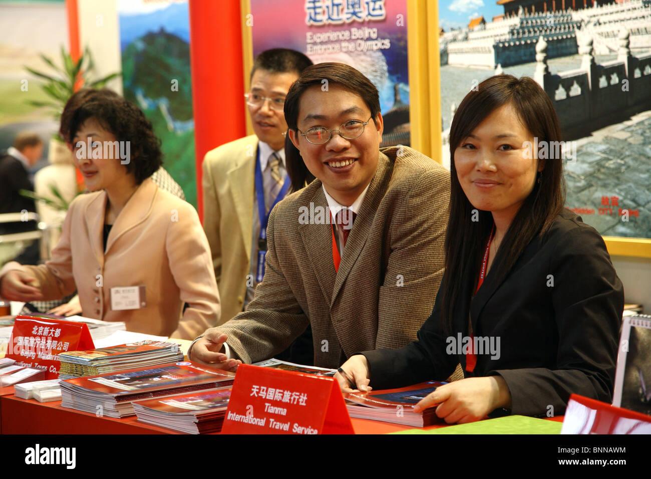 Expositores procedentes de China en la ITB de Berlín, Alemania Foto de stock