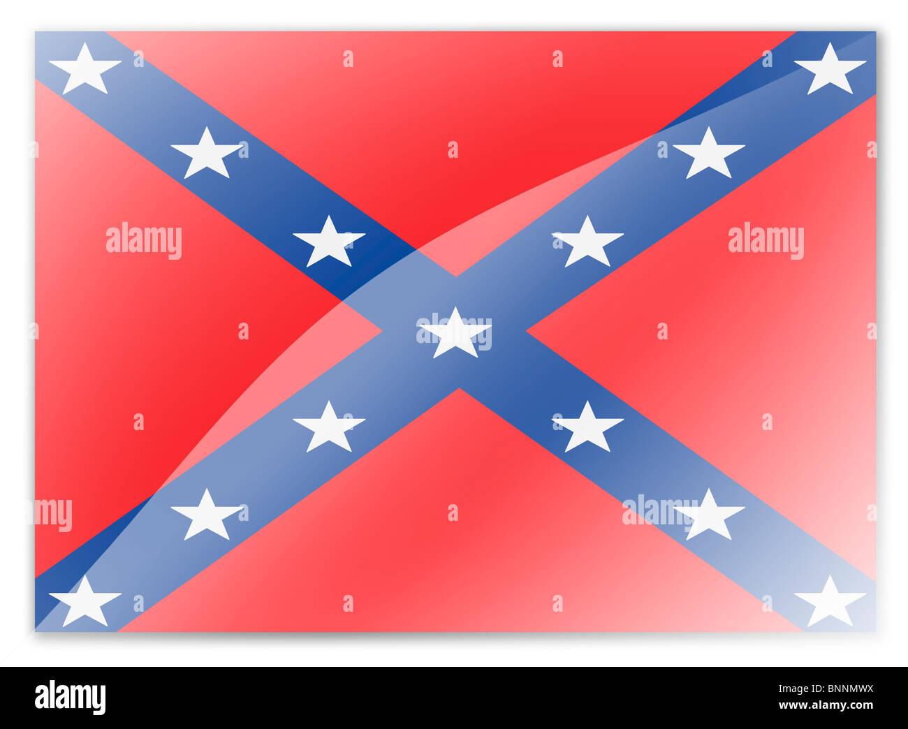 La bandera de batalla de la confederación estadounidense Foto de stock