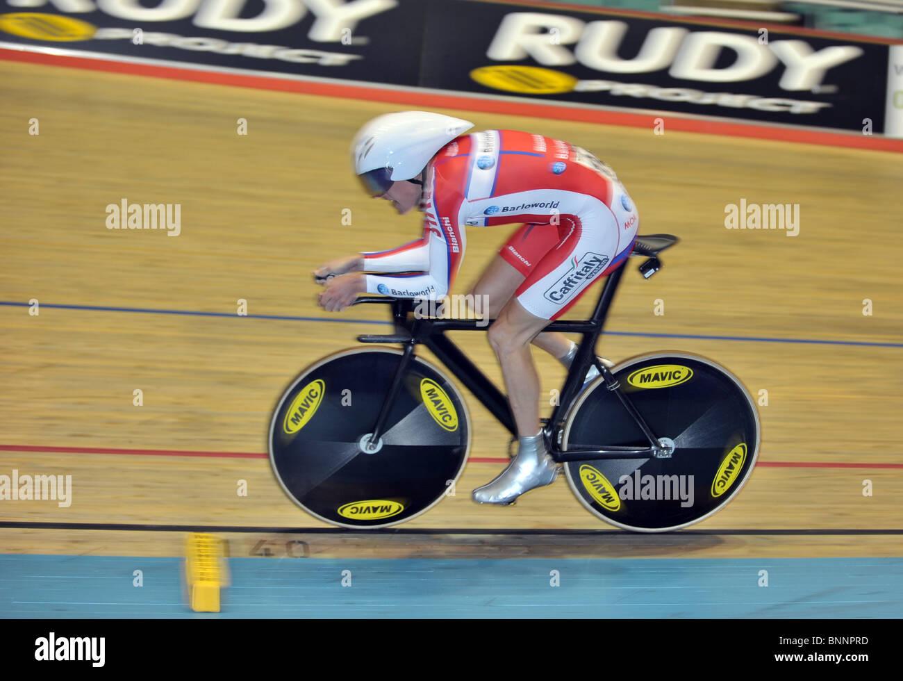 Geraint Thomas (Barloworld). 4km persecución calificadores. Sesión de la tarde del jueves. British Cycling Imagen De Stock