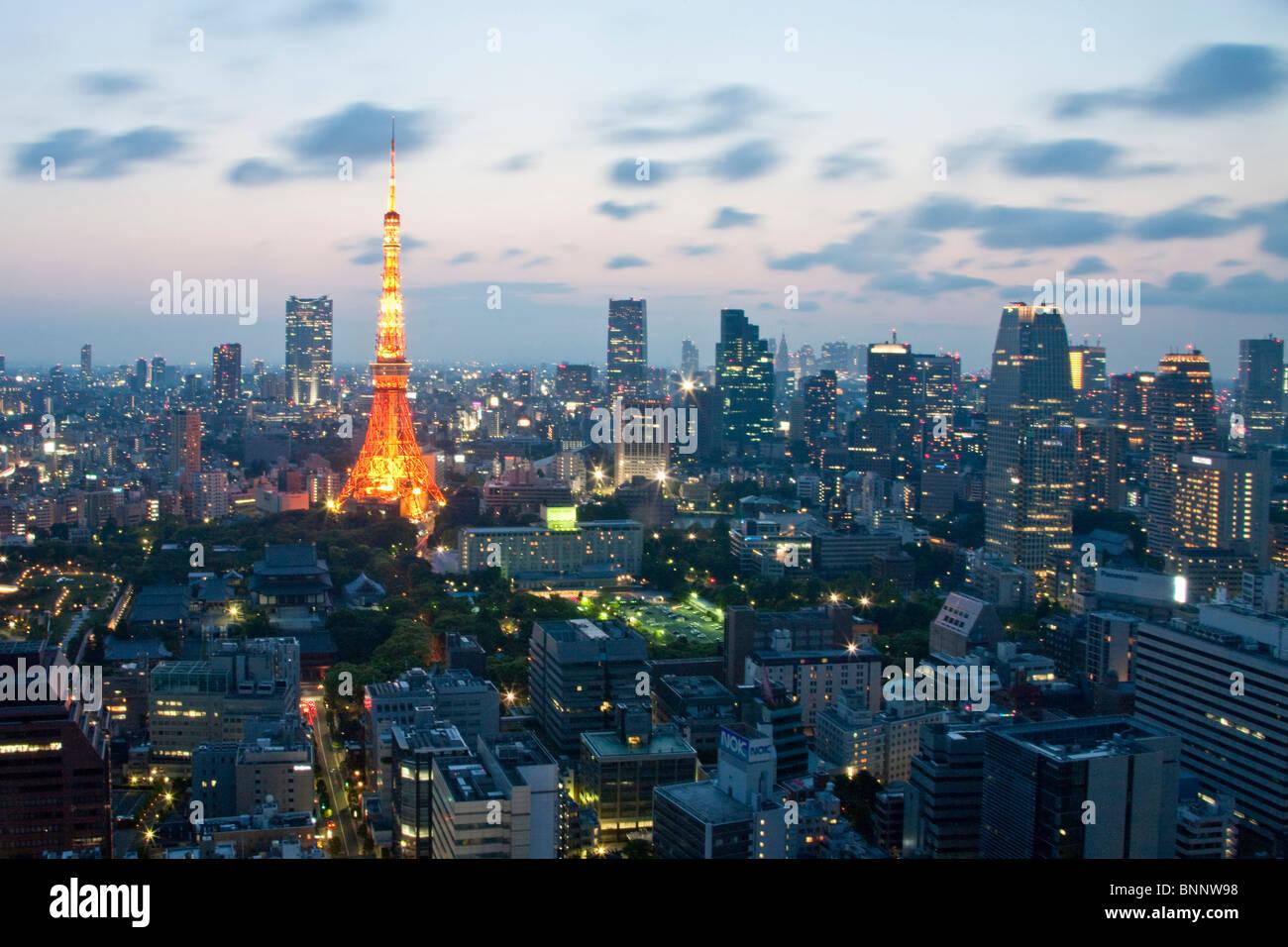 Far East Asia Japón Tokio Minato construcción Templo Zojoji ku Tokyo Tower torre de televisión la Imagen De Stock