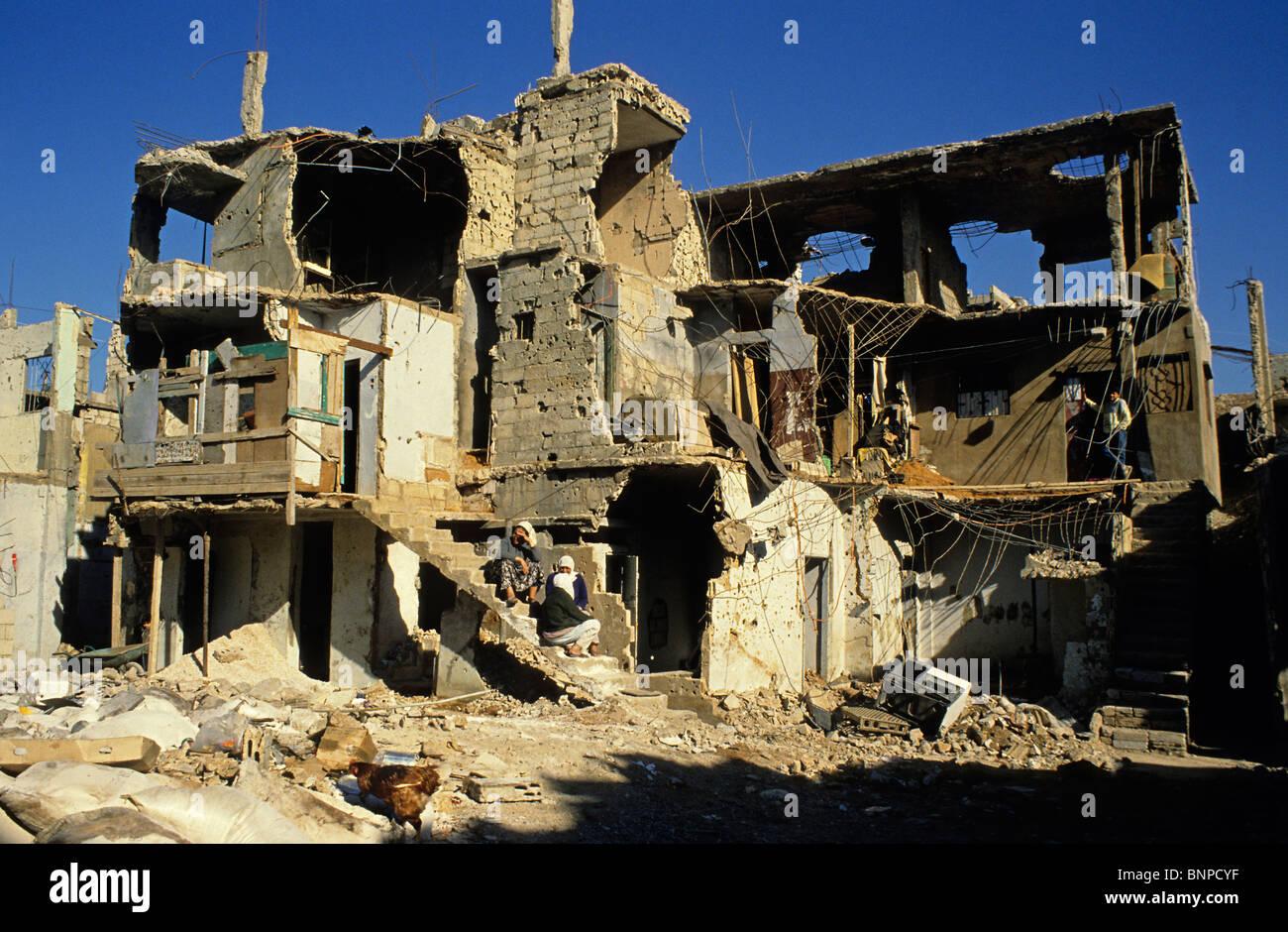 Bour El Brajneh campamento palestino durante la guerra civil, Beirut, Líbano Imagen De Stock