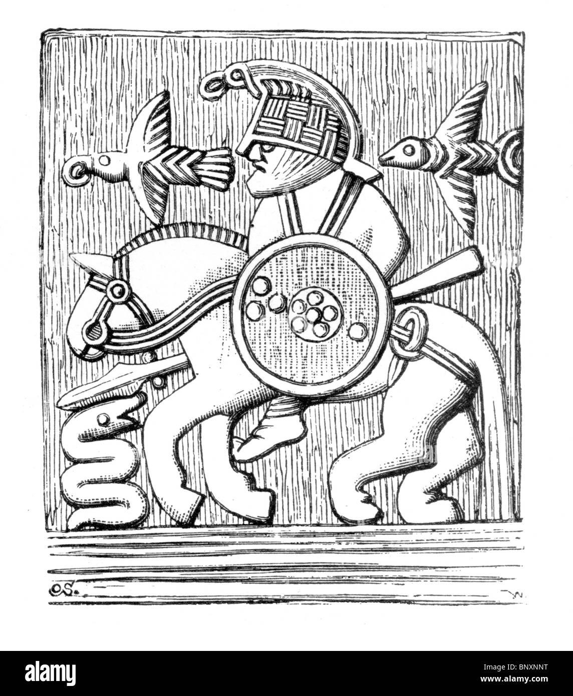 48fd78283cbe4 Ilustración en blanco y negro de la parte de un casco de hierro recubierto  con bronce
