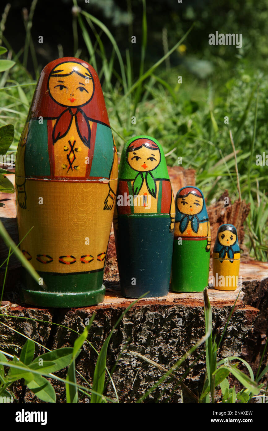 Cuatro muñecas matryoshka rusa Foto de stock