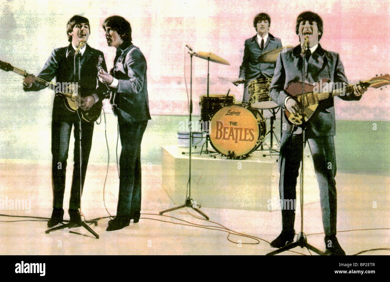 PAUL MCCARTNEY George Harrison Ringo Starr & JOHN LENNON de un duro día de la noche Beatles (1964). Imagen De Stock