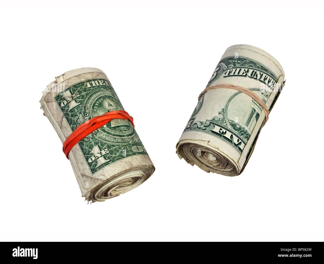 Rollos de calle sucia efectivo. Por favor sólo billetes pequeños. Imagen De Stock