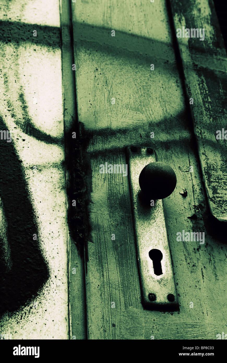 Empuñadura de puerta sucio Foto de stock