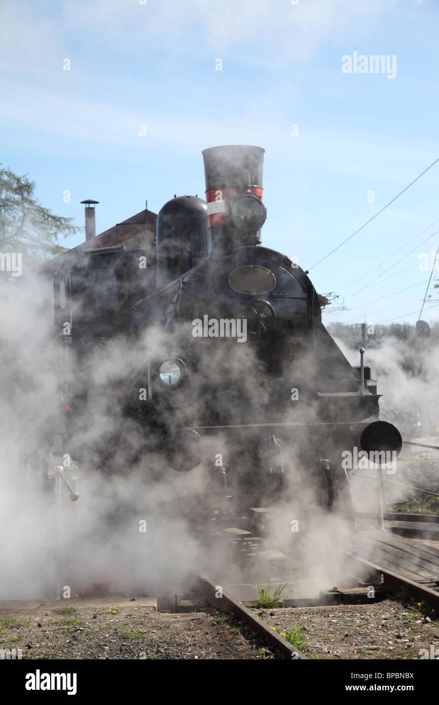 Locomotora de vapor preservadas arranque en Rungsted, Dinamarca. Construido para los ferrocarriles daneses por la Imagen De Stock