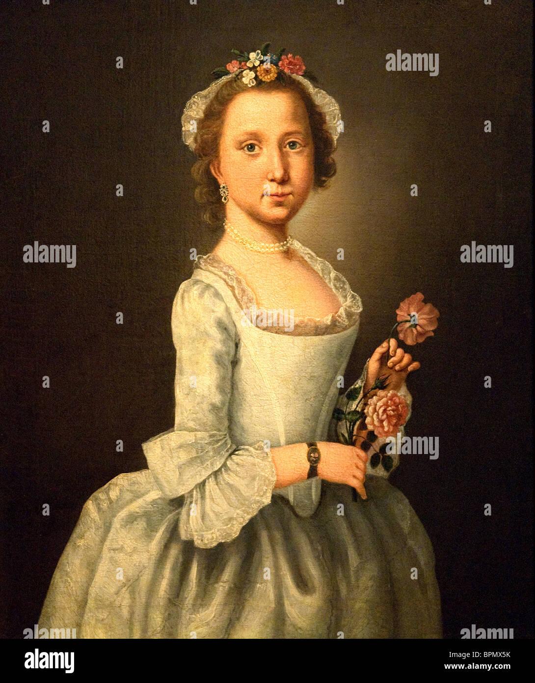 Retrato de una dama, 1764, por Lawrence Kilburn (o Kilbrunn) Imagen De Stock