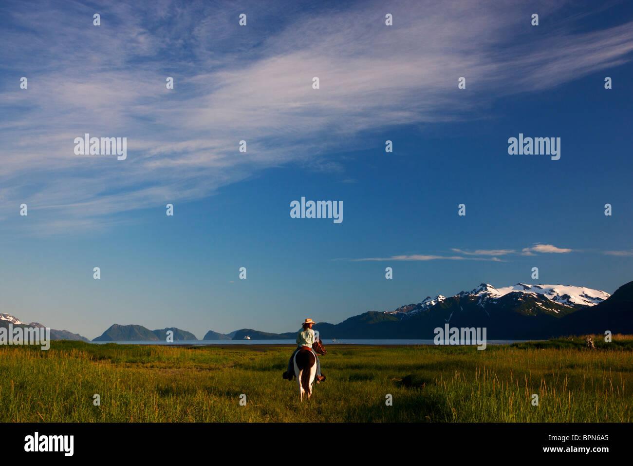 Cabalgatas cerca de resurrección Bay, Seward, Alaska. Foto de stock