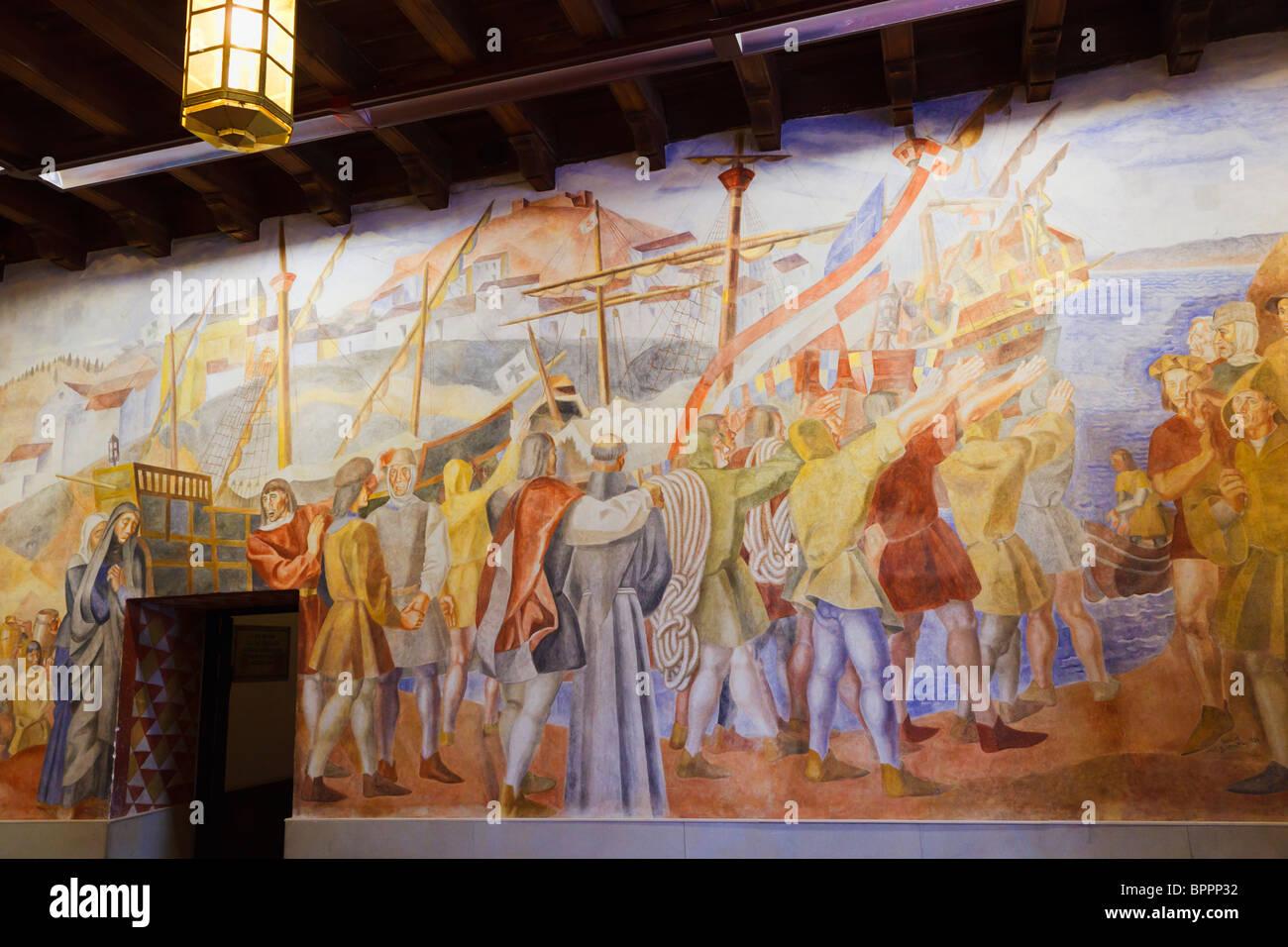 Fresco mostrando los ciudadanos de Palos de la Frontera, diciendo adiós a Colón como lo establece en el Imagen De Stock