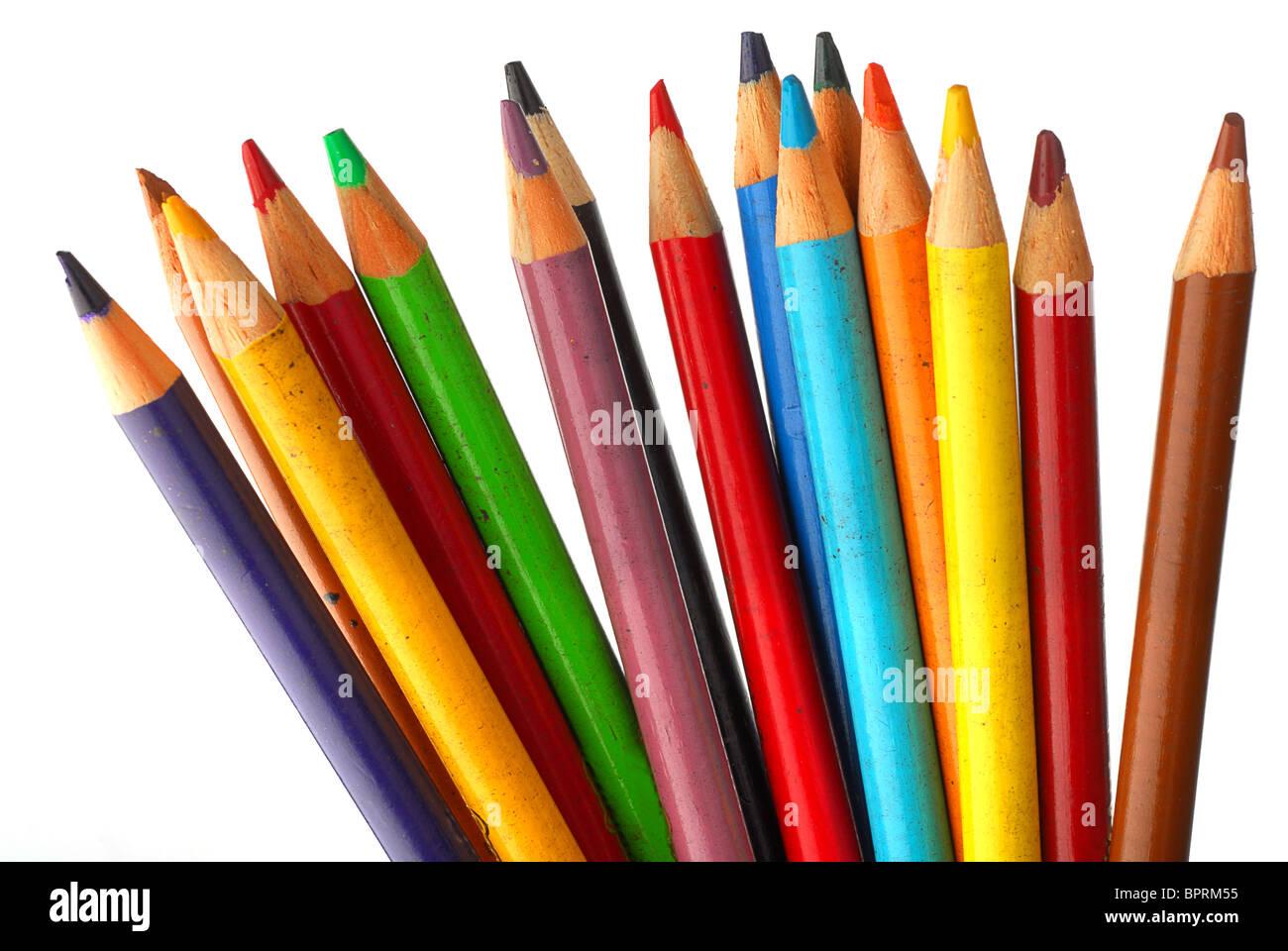 Imagen cercana del lápiz crayones aislado Imagen De Stock