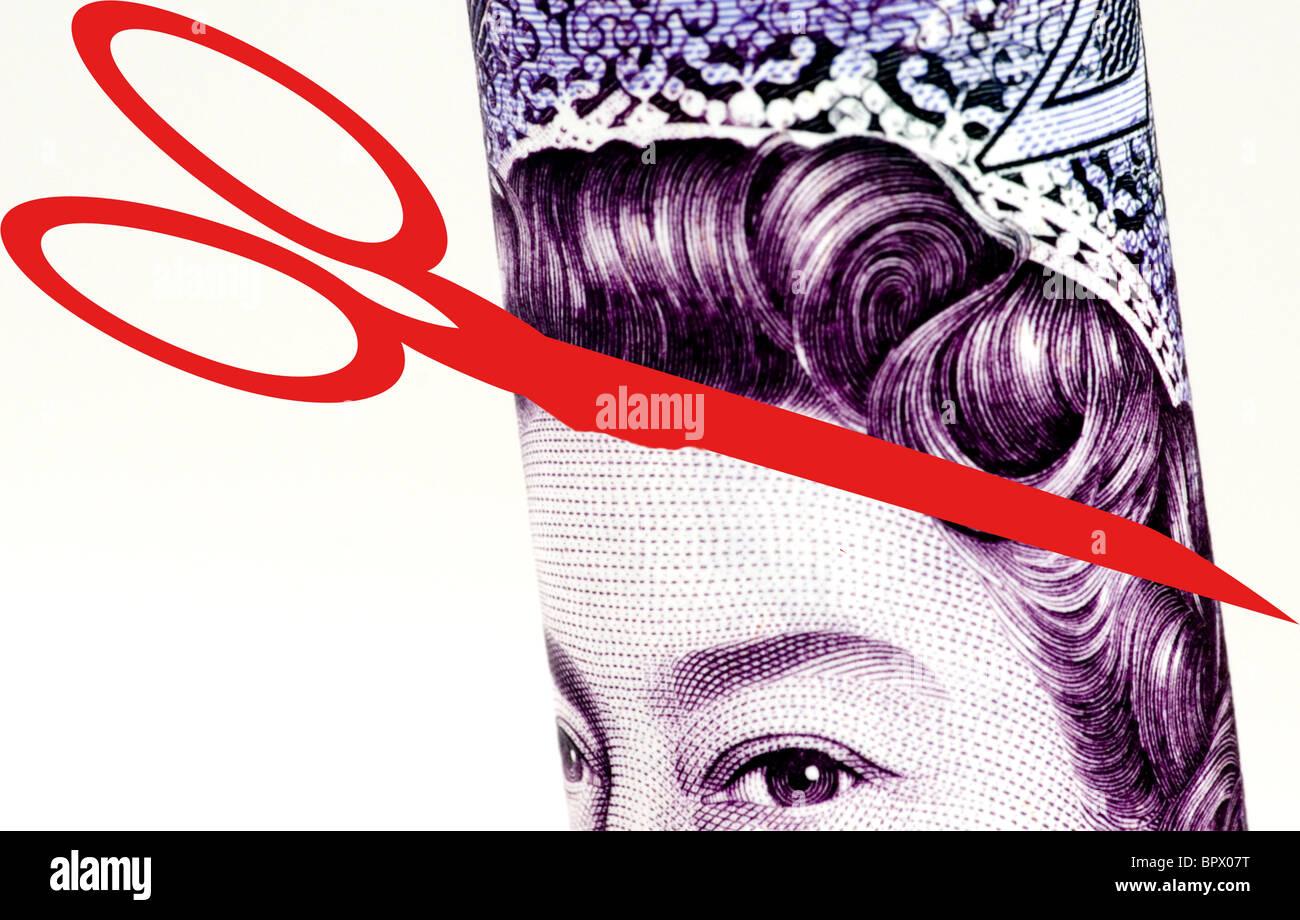 20 € Nota cortar .imagen conceptual que representan los recortes del gasto Foto de stock