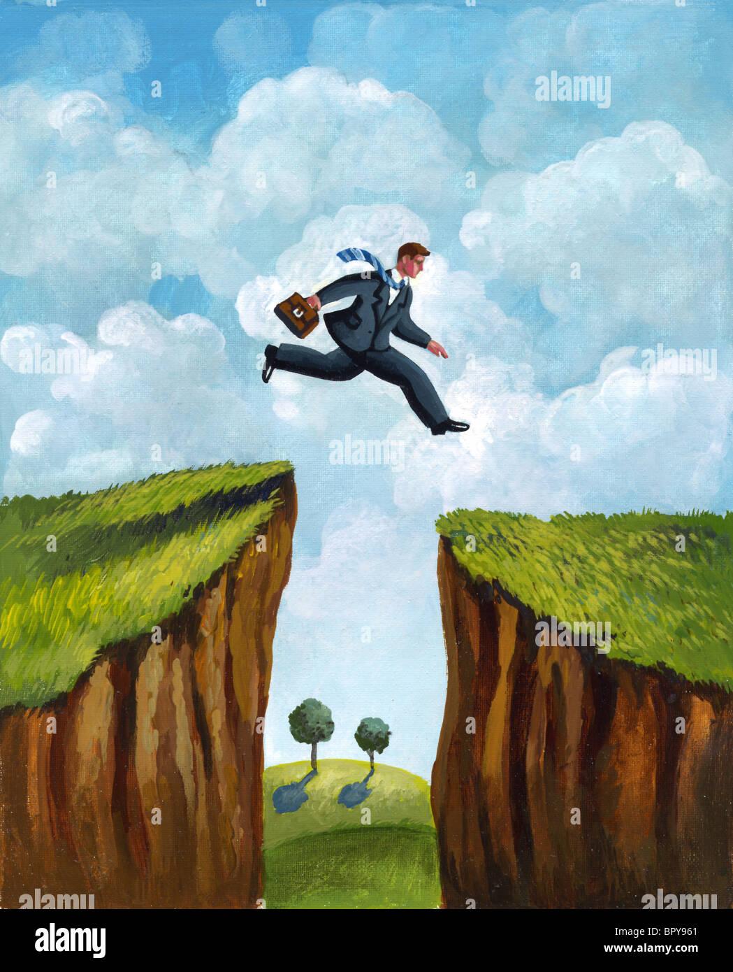 Una imagen de un empresario se ejecuta a través de dos acantilados Imagen De Stock