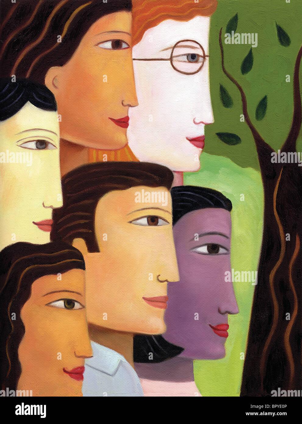 Los perfiles de un grupo de etnias mixtas Imagen De Stock