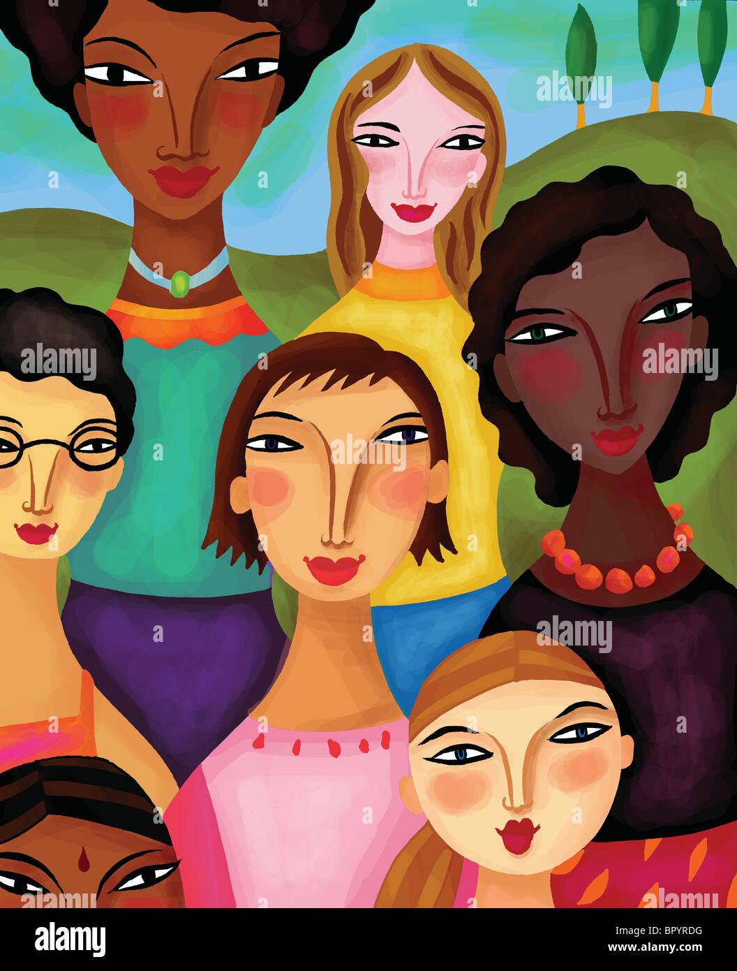 Mujeres de diferentes etnias juntos Imagen De Stock