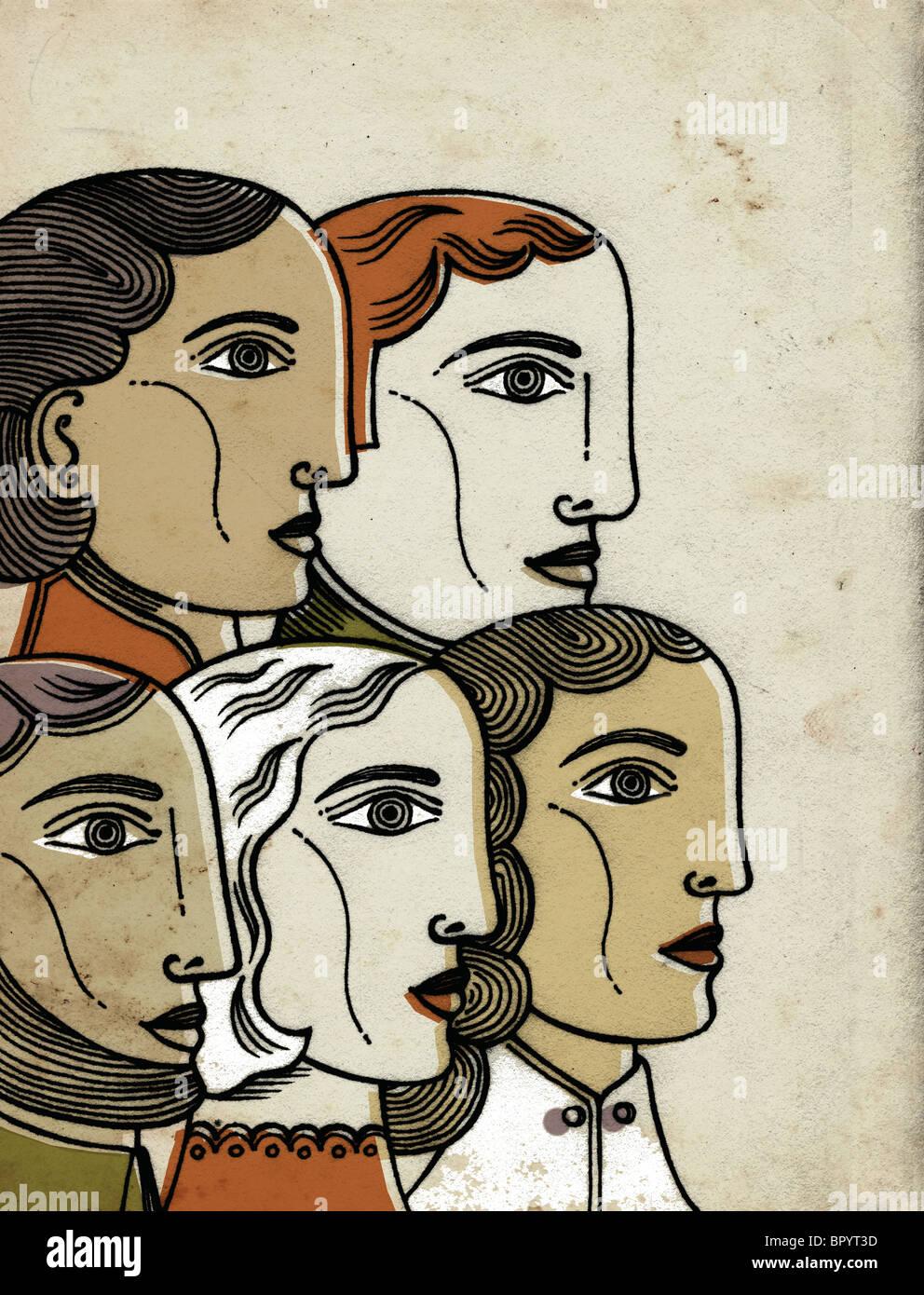 Los perfiles de cinco personas de diferentes etnias juntos Imagen De Stock