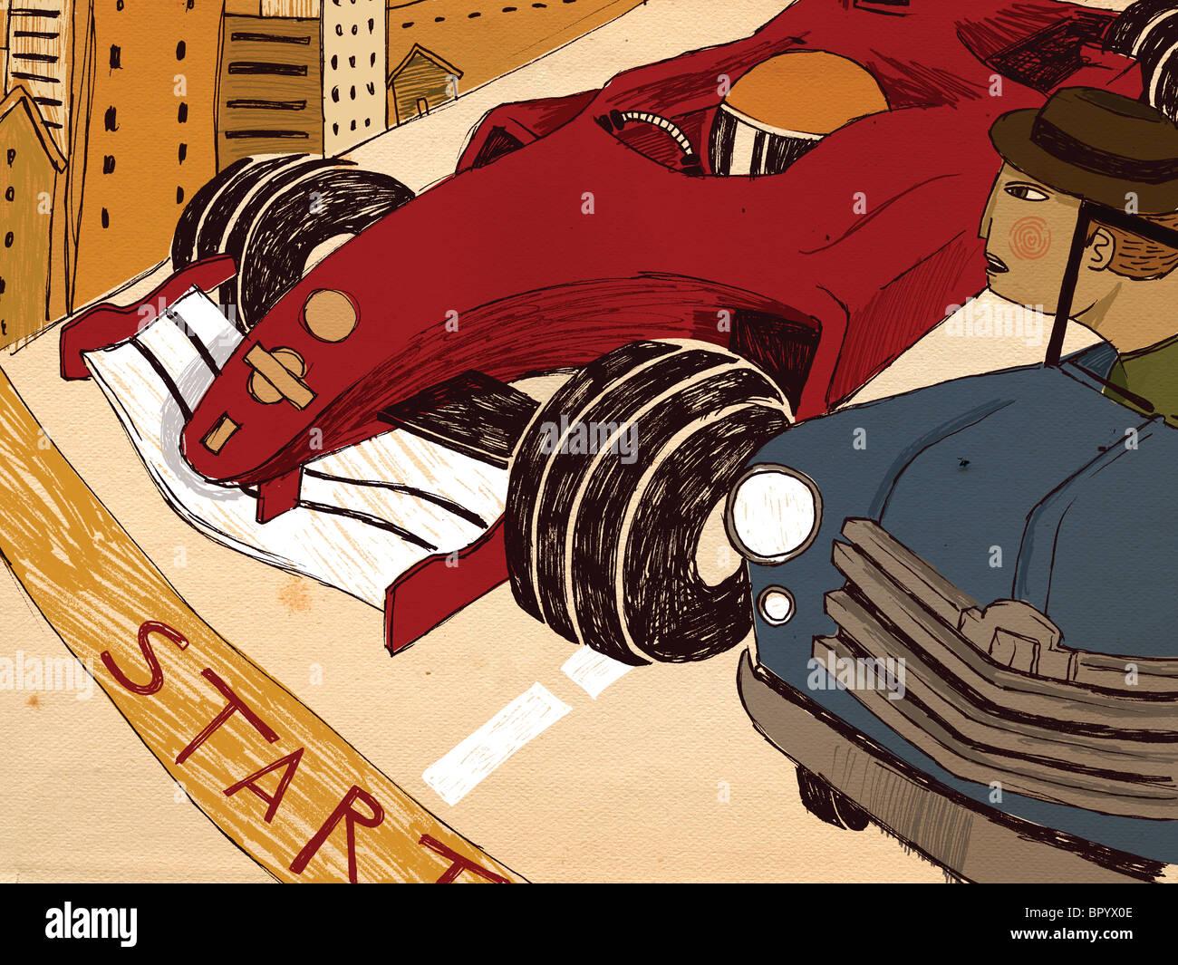 Dos conductores de coches de carreras en la línea de inicio Imagen De Stock