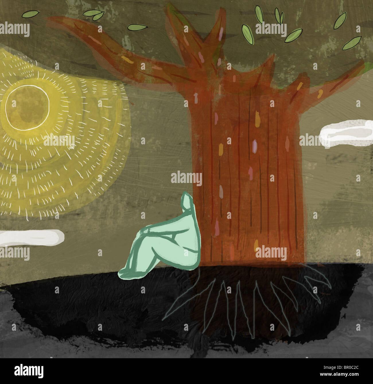 Una ilustración de un hombre sentado debajo de un árbol grande Imagen De Stock