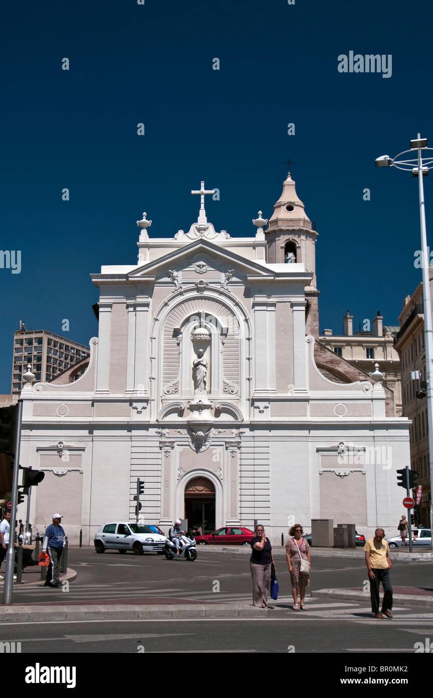 : Marseille Vieux Port,la iglesia de Saint Férréol Imagen De Stock
