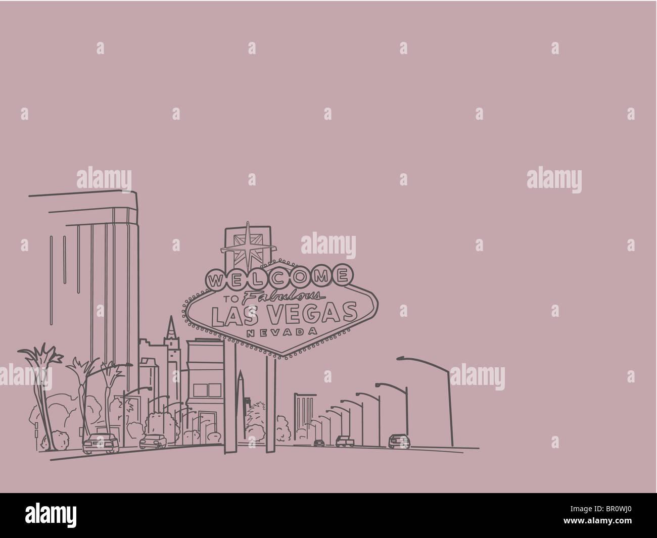 Una ilustración de la ciudad de Las Vegas Imagen De Stock