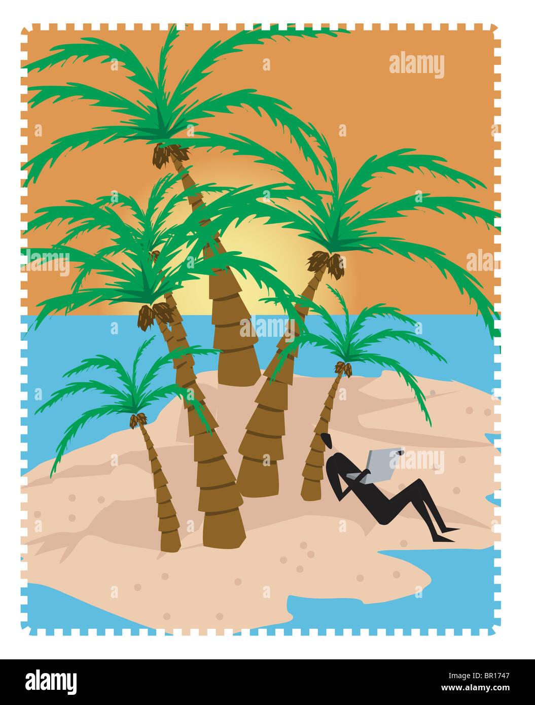 Una persona revisando su correo electrónico en una isla Foto de stock