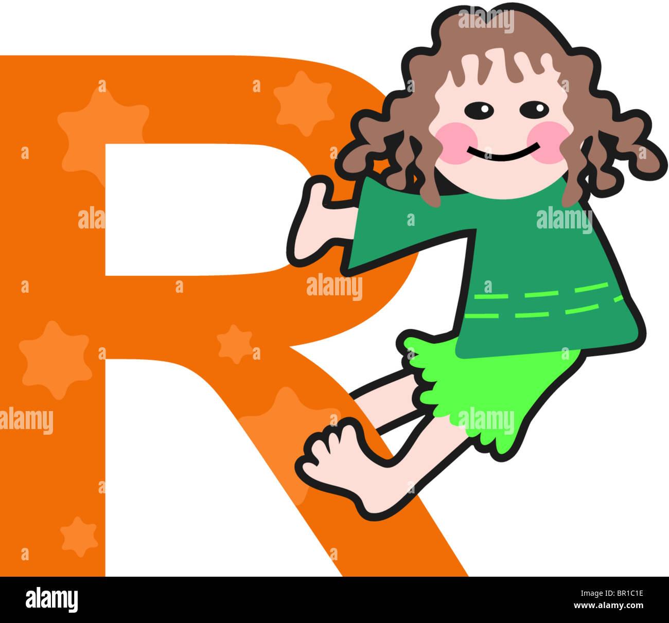 Un niño con la letra R Imagen De Stock