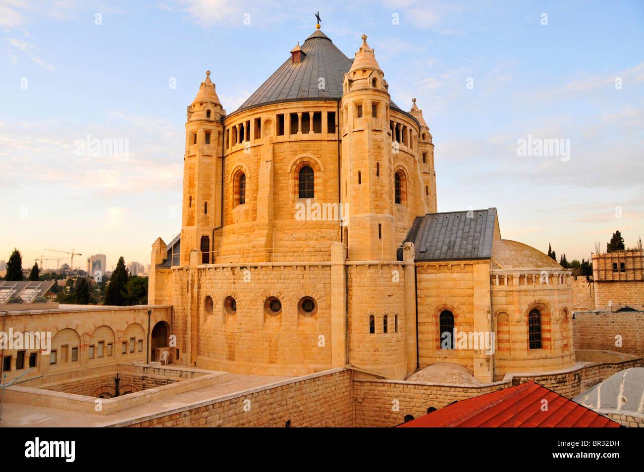 Iglesia de la Dormición en el monte de Sión, Jerusalén, Israel, Oriente Medio Oriente. Foto de stock