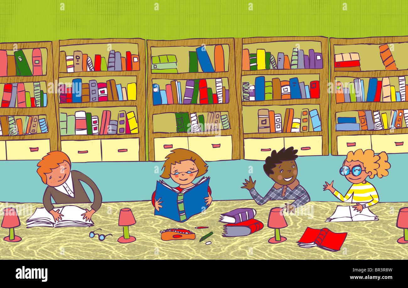 Niños Leyendo Y Estudiando En Una Biblioteca Foto
