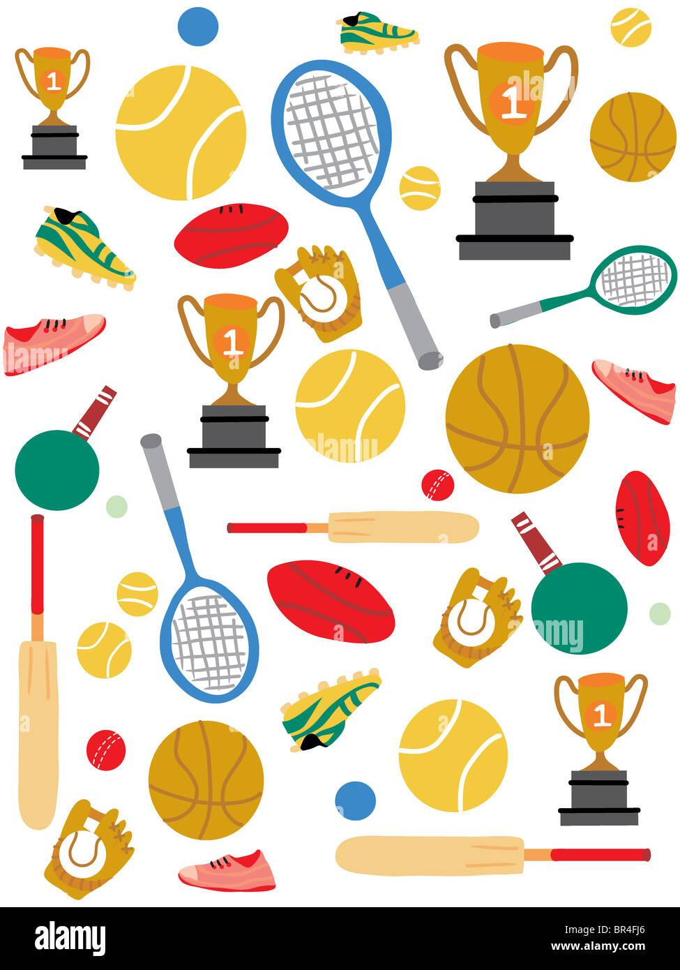 Un patrón de material deportivo y trofeos Foto   Imagen De Stock ... 6cee47a8873db