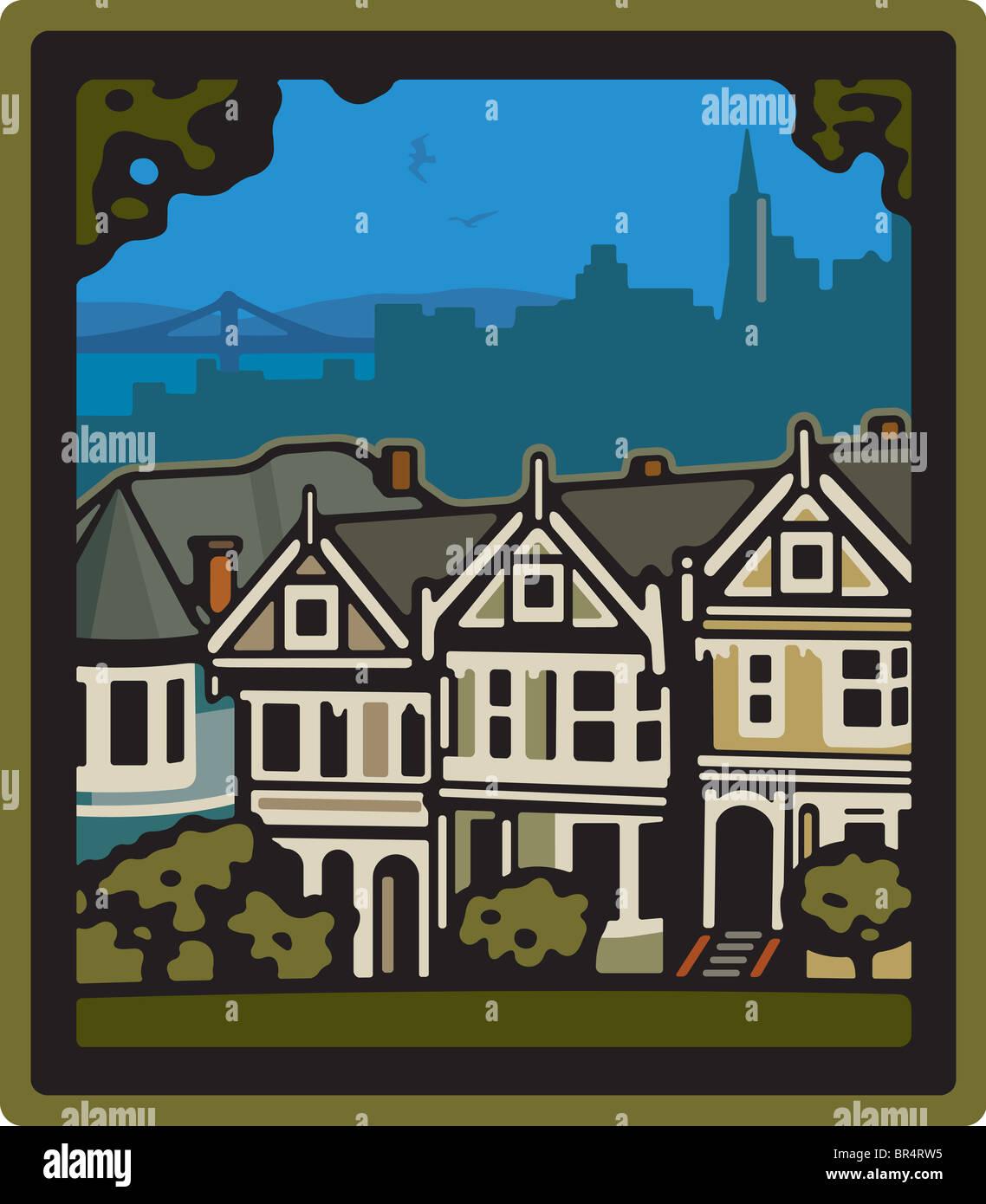 Una fila de casas en San Francisco. Imagen De Stock