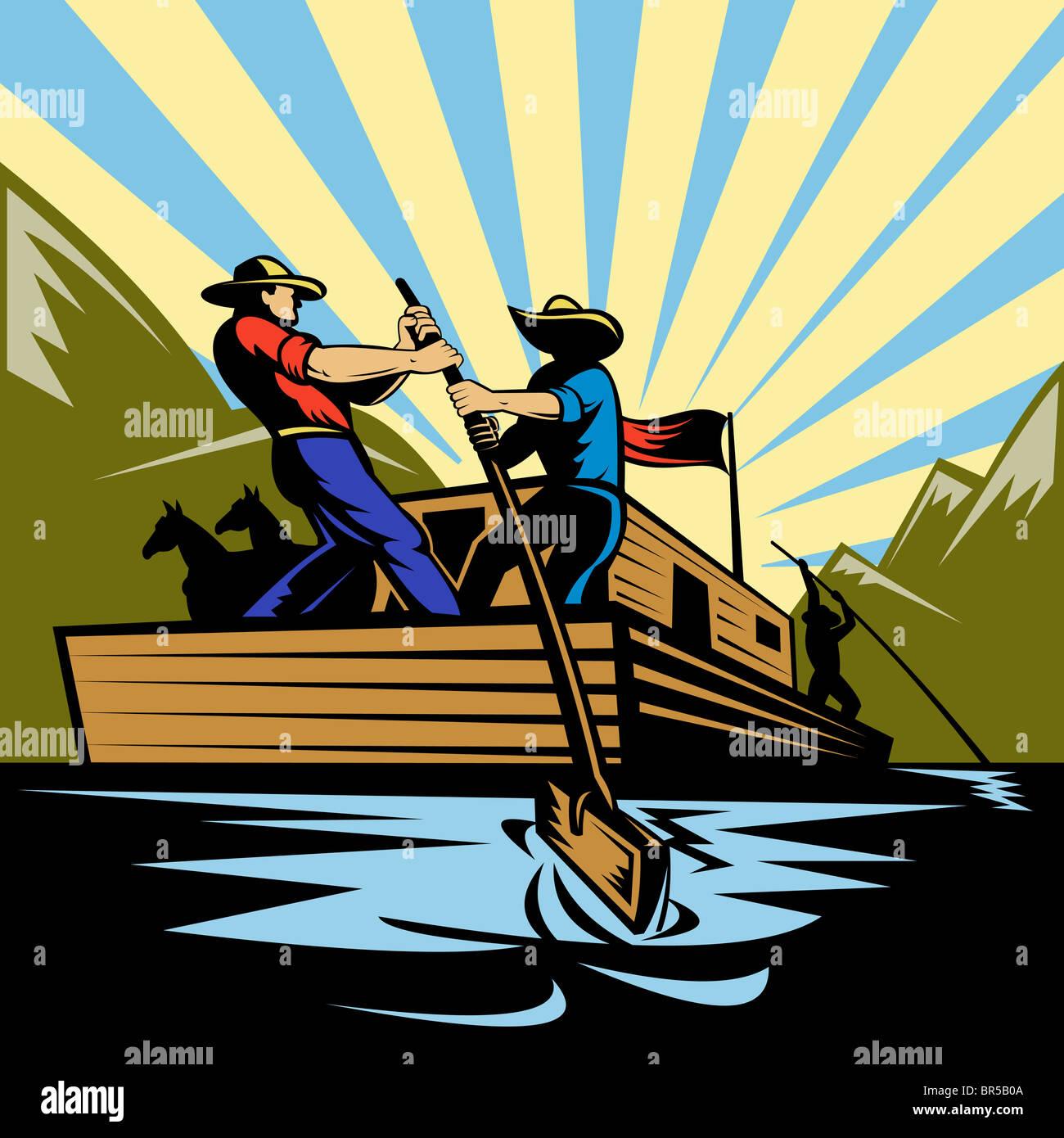 Ilustración de un vaquero hombre flatboat dirección a lo largo de río Foto de stock