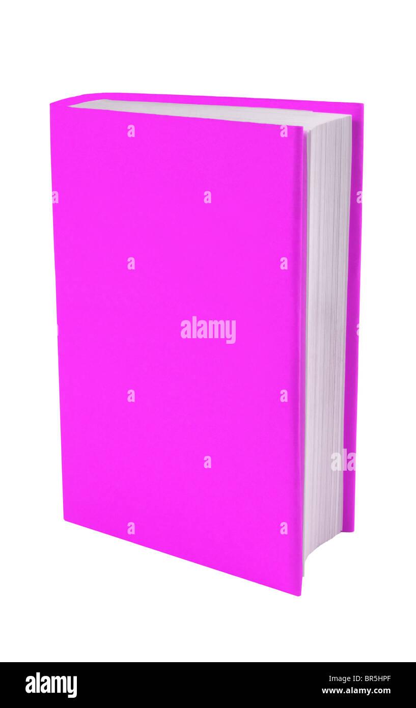 Libro con rosa/púrpura cubrir el recorte sobre un fondo blanco, con copia espacio alrededor o en el libro. Imagen De Stock