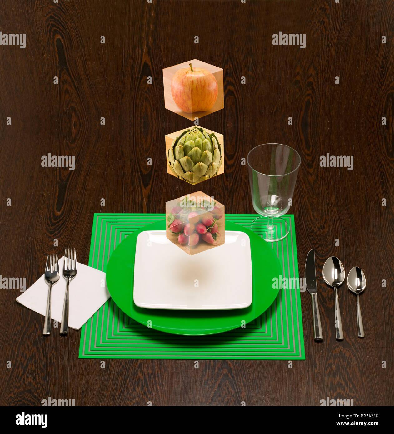 Bloques de alimentos flotantes para mostrar los bloques de construcción de su dieta. Imagen De Stock